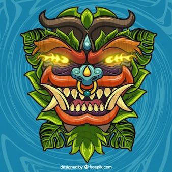 Disegno a mano tiki maschera sfondo con gli occhi brillanti