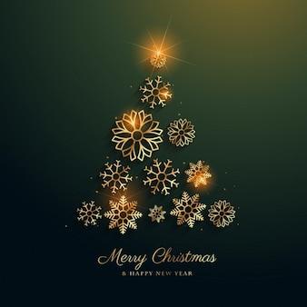 Disegno albero di Natale fatto con i fiocchi di neve decorazione dorata