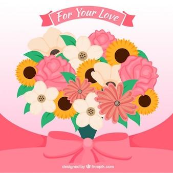 Disegno bello bouquet floreale