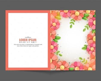 Disegno biglietto di auguri fiori recisi carta decorata con spazio per il testo
