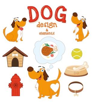 Disegno Cute Dog con elementi