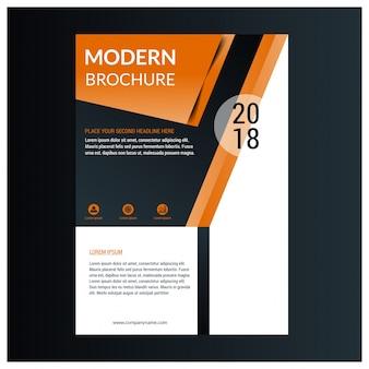 Disegno del layout del modello di opuscolo. Rapporto annuale aziendale aziendale, catalogo, mockup periodico. Layout con elementi moderni arancioni. Poster creativo, opuscolo, flyer o banner