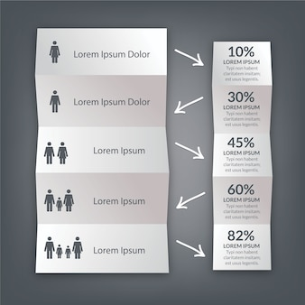 Disegno di carta piegato infografica