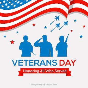 Disegno di giorno dei veterani con la bandiera ondulata