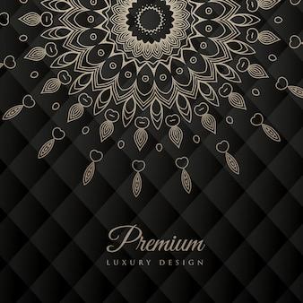 Disegno di mandala modello rotondo di ornamento su priorità bassa nera