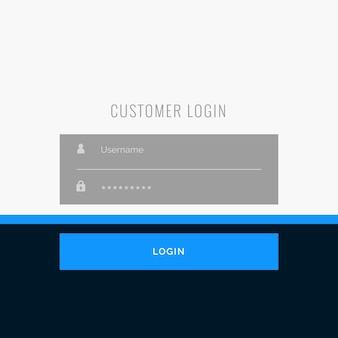 Disegno di modello piano di login piatto per i progetti web o app
