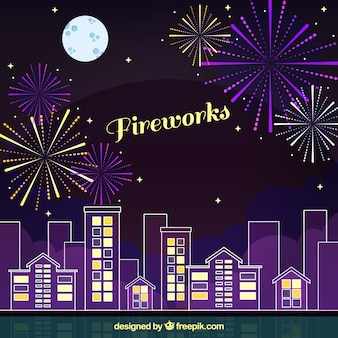 Disegno di sfondo dei fuochi d'artificio
