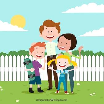 Disegno di sfondo della famiglia