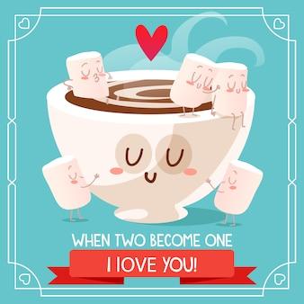 Disegno di sfondo di cioccolato e marshmallow