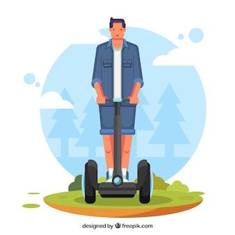 Disegno elettrico di scooter con uomo alto