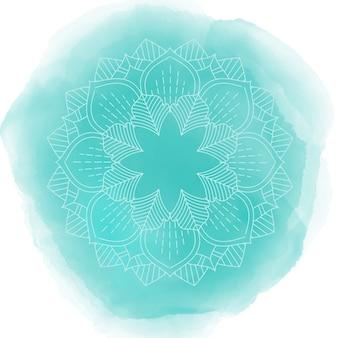 Disegno mandala decorativo su una texture di acquerello