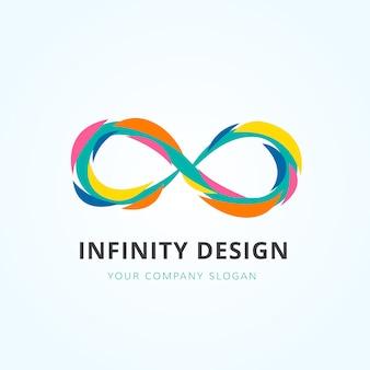 Disegno multicolore di logo a infinito