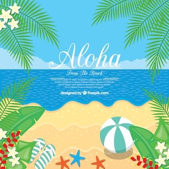 Disegno piatto aloha sfondo spiaggia