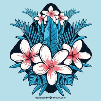 Disegno piatto astratto sfondo fiore tropicale