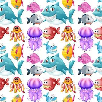 Disegno senza soluzione di continuità con gli animali del mare