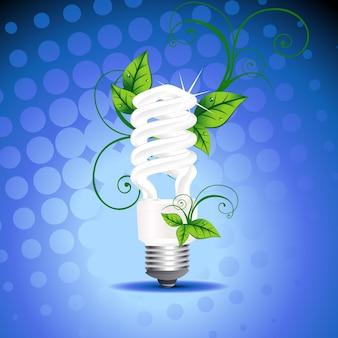 Disegno vettoriale CFL con foglie intorno ad esso