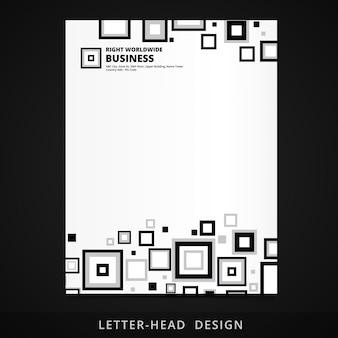 Disegno vettoriale testa lettera con illustrazione elementi quadrati