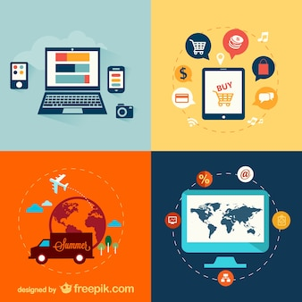 Dispositivi e vettoriale viaggio set elettronico piatta