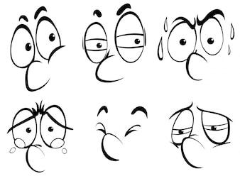 Diverse espressioni facciali su sfondo bianco