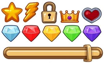 Diverse icone per il gioco del computer