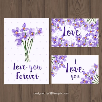 Diverse schede con mazzi di fiori ad acquerello