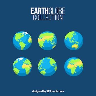 Diversi globi di terra in design piatto