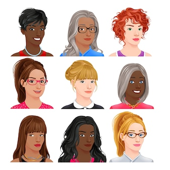 Diversi personaggi avatar femminile vettore isolato