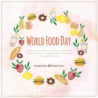 Diversi prodotti alimentari in un cerchio sfondo acquerello