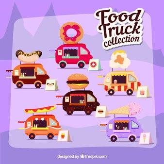 Divertente collezione di camion di alimentari moderni