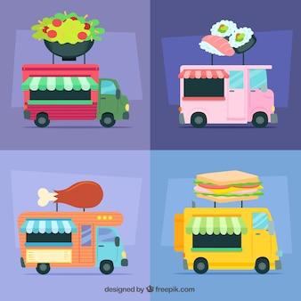 Divertente varietà di autocarri con design piatto