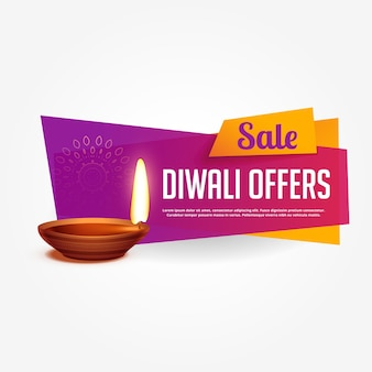 Diwali offerta e vendita voucher design con colori vivaci