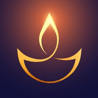 Diwali oro artistico Diya sfondo