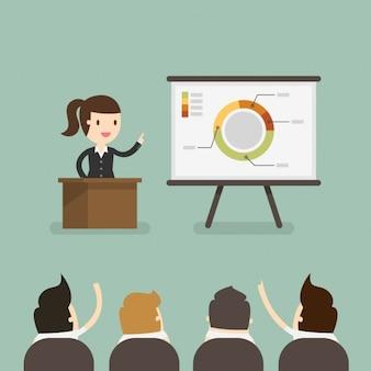 Donna d'affari in una presentazione