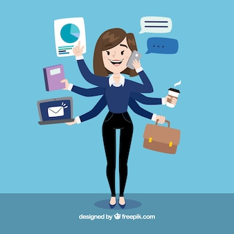 Donna d'affari multitasking