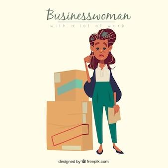 Donna d'affari triste con un sacco di lavoro