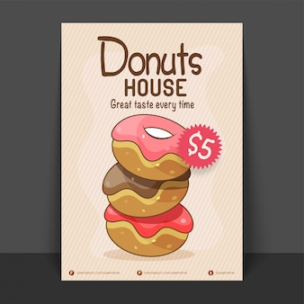 Donut House Flyer, modello o disegno di carta di prezzo, vettore per il concetto di cibo e bevande.
