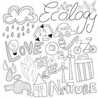 Doodle della natura, con segno di attività in bianco e nero, simboli e icone.