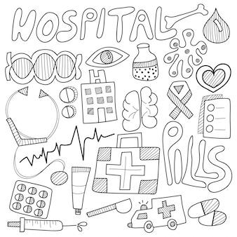 Doodle medico, con segno di attività in bianco e nero, simboli e icone.