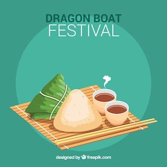 Dragon boat sfondo tradizionale pasto festival