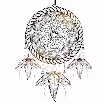 Dream Catcher in stile Boho con motivi floreali tribali ornamentali. Elemento decorativo etnico disegnato a mano creativo.