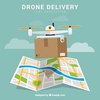 Drone di consegna con scatola e mappa