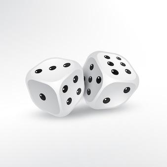 Due dadi su sfondo bianco vettoriale