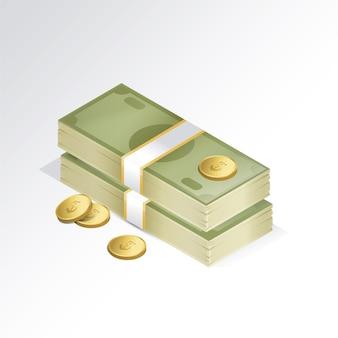 Due fascio di banconote e alcune monete su sfondo bianco