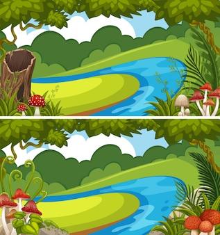 Due scene con fiume nella foresta