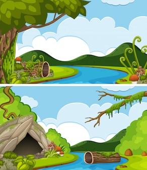 Due scene del fiume con le montagne in background