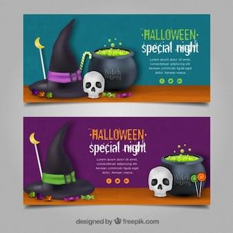 Due striscioni con pozioni orribili per halloween