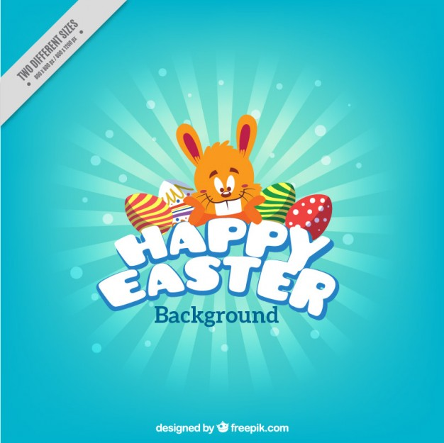 Easter Bunny Light Blue Background