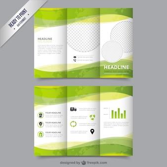 Eco modello di brochure di colore verde