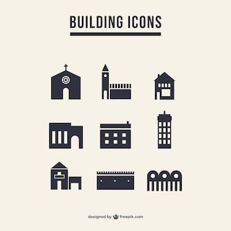 Edificio icone silhouette pacchetto