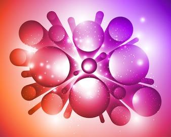 Effetto astratto incandescente 3D su sfondo lucido.